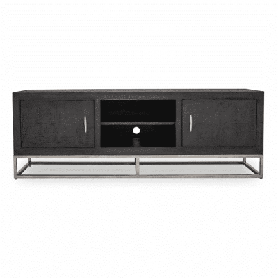 Hampton TV unit in black faux shagreen with chrome legs and handles