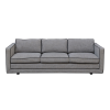 Floating style 3 seater sofa in flecked hessian, piped in black