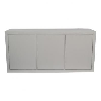 Three door grey sideboard, oak and oak veneer, adjustable shelves, visible grain, magnetic push catch opening on doors