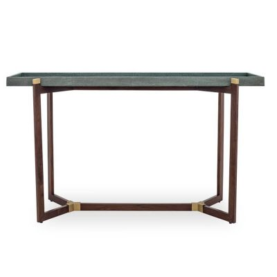 Green console table, faux shagreen tray top, walnut base with brass detailing , tray not fixed