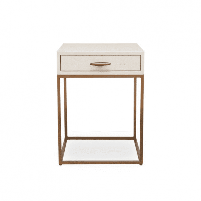 Hampton ivory bedside table in faux shagreen