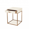 Hampton square bedside table in ivory, faux shagreen, antique brass finish, drawer on metal runners, walnut style wood on inside of drawer. Handle requires putting on (found on inside of unit). Leg requires assembly.
