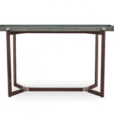 Hambledon console table in green, faux shagreen tray top, not fixed, on walnut base with brass detail