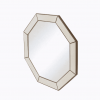 Hampton octagonal mirror in ivory shagreen and brass