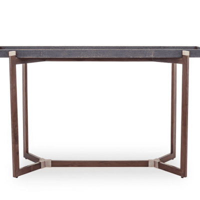 Console table in black, faux shagreen tray top, not fixed, on walnut base with brass detail
