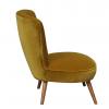 Scallop back velvet chair in gold with oak leg
