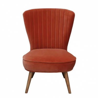 Scallop back velvet chair in orange with oak leg