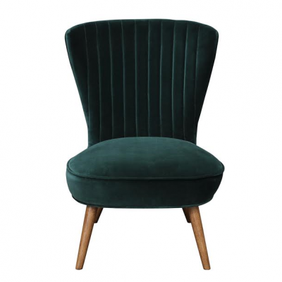 Scallop back velvet chair in pine with oak leg