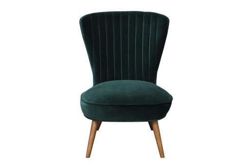 Scallop back velvet chair in pine with oak leg