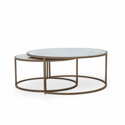 Ropley coffee table with glass top, white marble print and gold base nest tables