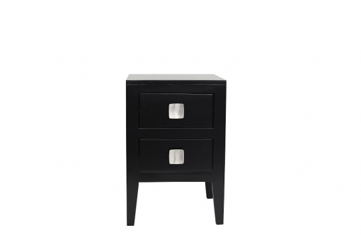 Tunworth bedside table in black with birch veneer, wooden runners and square chrome style handle