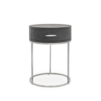 Hampton bedside table in black faux shagreen with chrome handles and legs (requires assembly)