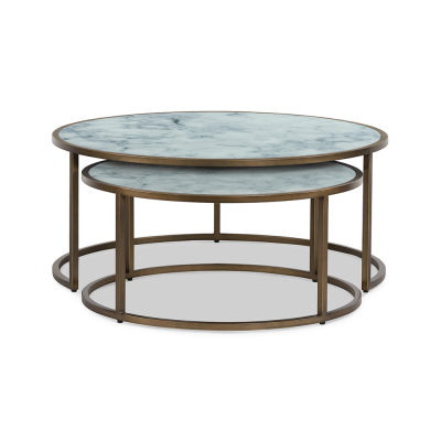 Nest tables with printed marble-effect glass top, brass style base