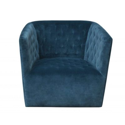 Petrol velvet cotton fabric swivel club chair, Crib 5 including CMHR foam