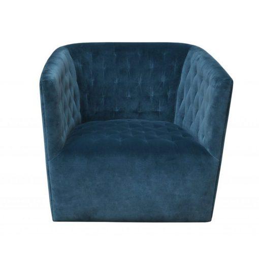 Petrol velvet cotton fabric swivel club chair, Crib 5 including CMHR foam