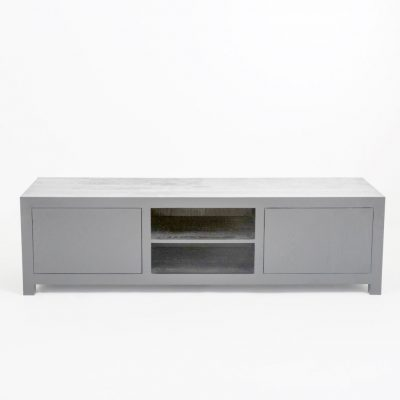 Grey TV unit in grey stained oak and oak veneer
