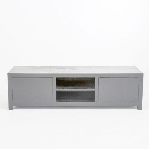 Grey TV unit in grey stained oak and oak veneer