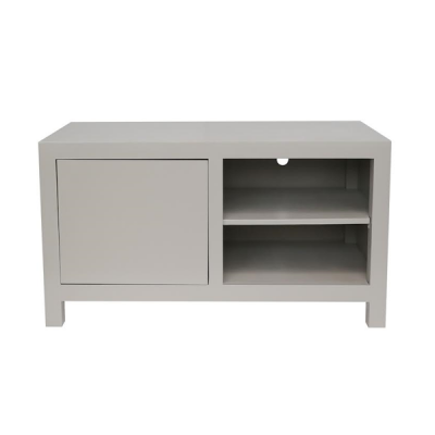 Small grey TV media unit, oak and oak veneer, shelf, visible grain, magnetic push catch opening on door