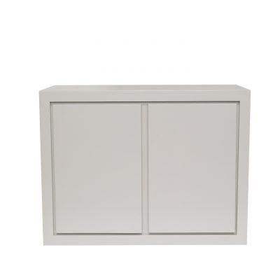 Small white two door sideboard, oak and oak veneer, visible grain, shelf, magnetic push catch opening on doors