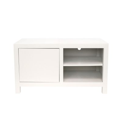 Small white TV media unit, oak and oak veneer, shelf, visible grain, magnetic push catch opening on door