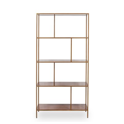 Shelving unit, antique brass style frame, acacia shelves, fixed shelves, visible grain