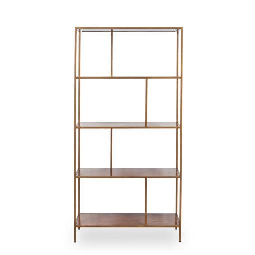 Shelving unit, antique brass style frame, acacia shelves, fixed shelves, visible grain