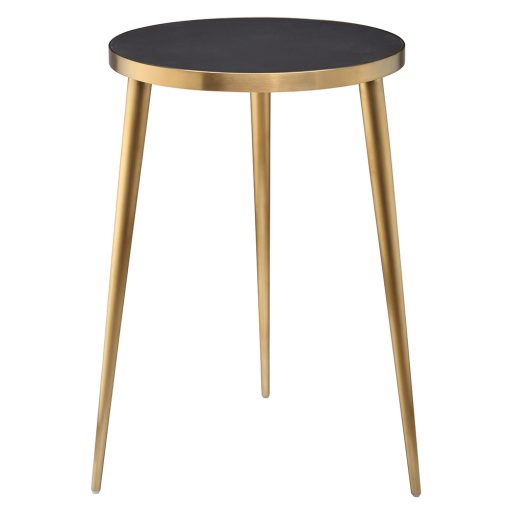 Grey/black round end table, faux concrete top, gold finish tapered steel legs and surround, three legs