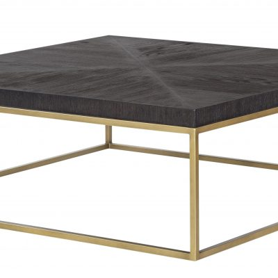 Black square coffee table, hand cut ridge effect, brass style square base, visible grain