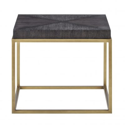 Black square end table, hand cut ridge effect, brass style square base, visible grain