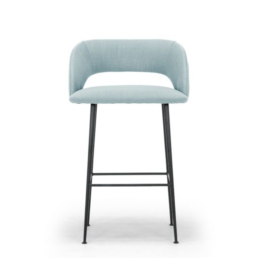 Duck egg blue bar stool, linen style, matt black powder coated steel legs, Crib 5 spec, needs some assembly