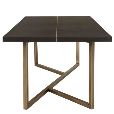 Rectangular chocolate brown dining table, mdf and veneer, gold seam and gold painted steel base also available