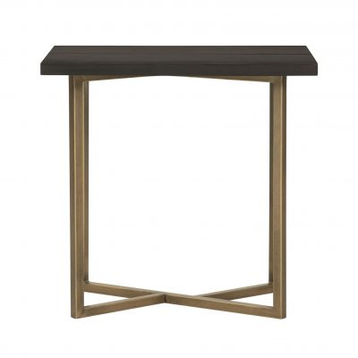 Rectangular chocolate brown end table, mdf and veneer, gold seam and gold painted steel base