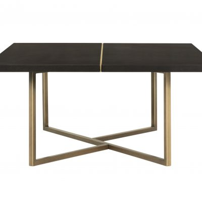 Rectangular chocolate brown coffee table, mdf and veneer, gold seam and gold painted steel base