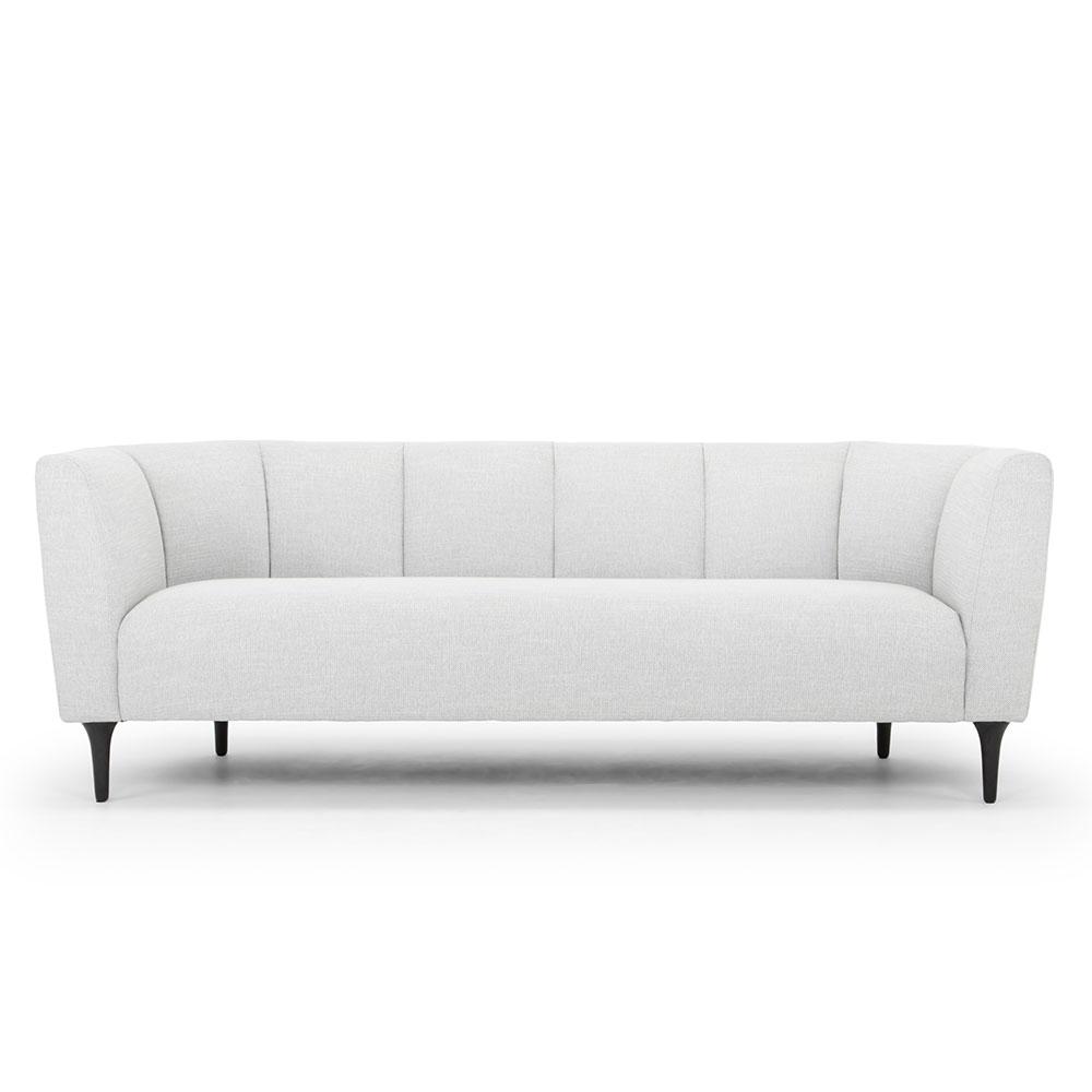 Grey hessian sofa, textured grey weave, black oak legs, Crib 5 spec