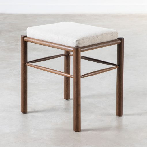 Stool with natural linen cushion, fumed oak, turned legs, visible grain