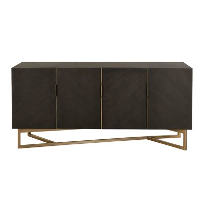Four door rectangular chocolate brown sideboard, mdf and veneer, gold seam and gold painted steel base, brass style handles