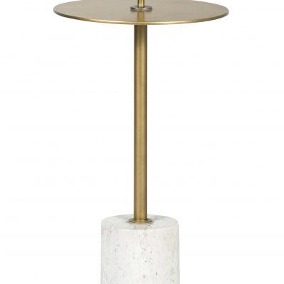 Round end table in brass & steel with white marble base.