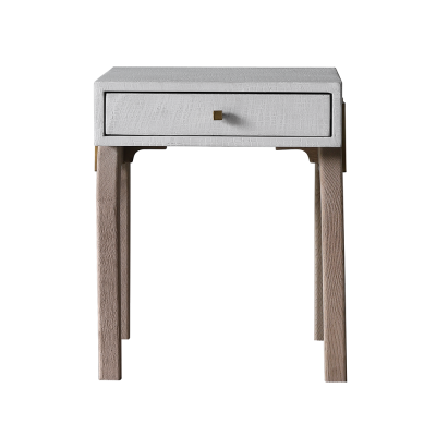 One drawer white bedside table, faux concrete, crocodile style finish, natural curved oak legs, drawer on wooden runners, square gold style handle, gold style bar detailing on sides