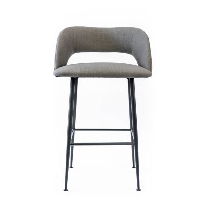 Grey bar stool, linen style, matt black powder coated steel legs, Crib 5 spec, needs some assembly