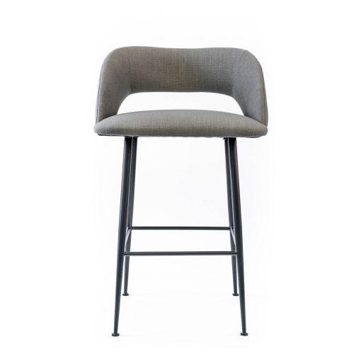 Grey bar stool, linen style, matt black powder coated steel legs, Crib 5 spec, needs some assembly