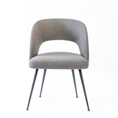 Grey dining chair, linen style, matt black powder coated steel legs, Crib 5 spec, needs some assembly