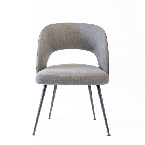 Grey dining chair, linen style, matt black powder coated steel legs, Crib 5 spec, needs some assembly