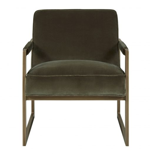 Olive green velvet armchair with bronze style frame