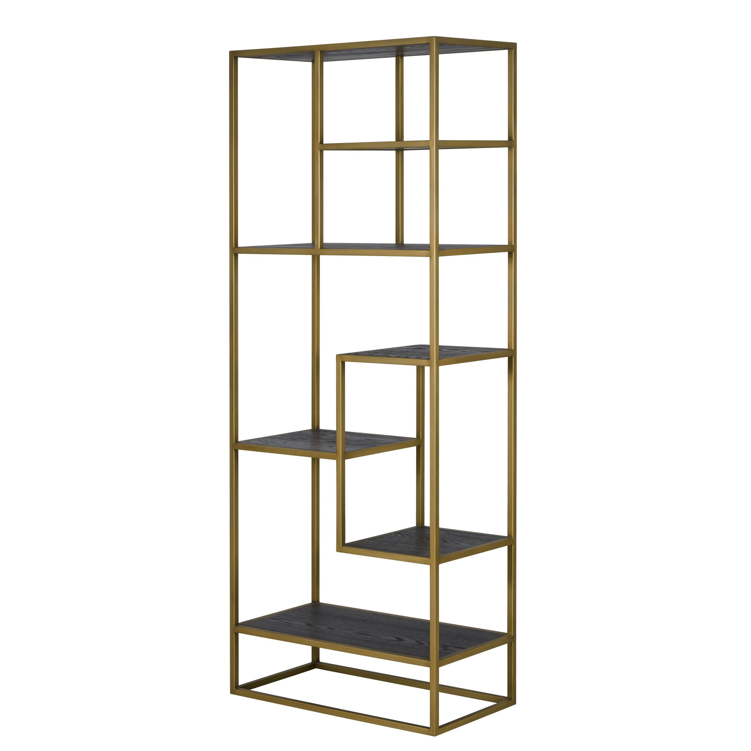 Shelving unit, black wood veneer, burnished gold frame