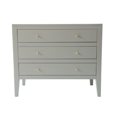 Three drawer pigeon grey chest of drawers in birch wood and mdf, tapered legs, cut lines, wooden runners on drawers and brass style handles