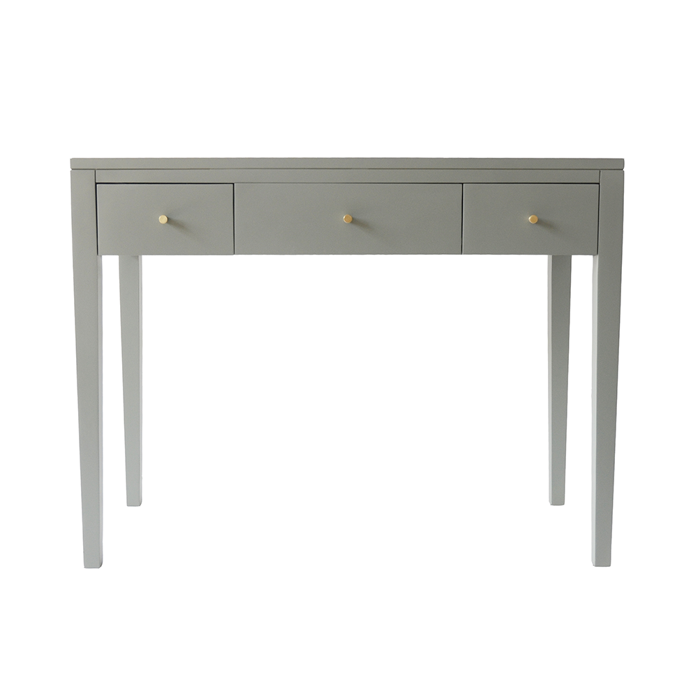 Three drawer pigeon grey console table in birch wood and mdf, tapered legs, cut lines, wooden runners on drawers and brass style handles