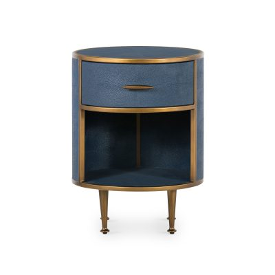 One drawer small round bedside table in navy faux shagreen with brass style surround, legs and handle, walnut style wood drawer interior, metal runners, handle needs