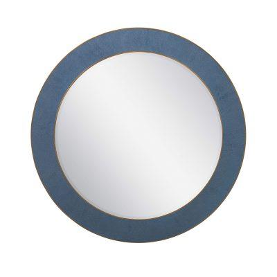 Round navy mirror, faux shagreen, brass style surround