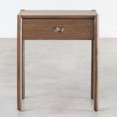 One drawer fumed oak bedside table, oak veneer, turned legs, visible grain, round brass style recessed handle
