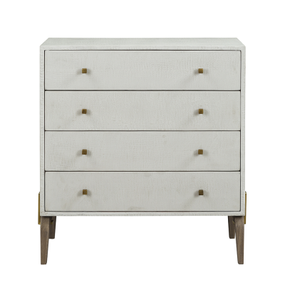 Four drawer white chest of drawers, faux concrete, crocodile style finish, natural curved oak legs, drawers on wooden runners, square gold style handles, gold style bar